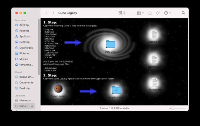 Instalační balík Dune Legacy pro macOS